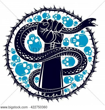 Hand Squeezes A Snake, Fight Against Evil Devil And Satan, Control Your Inner Beast Animal, Archetyp