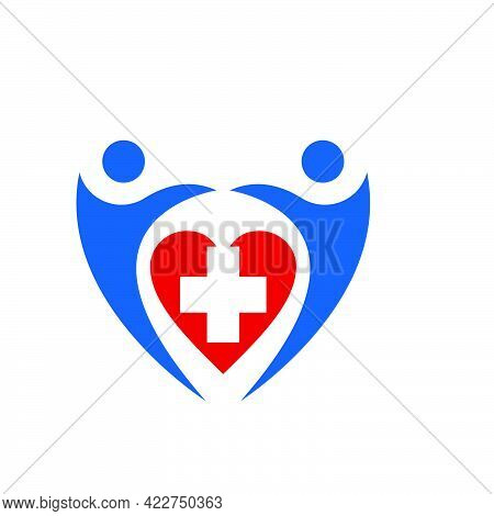 Healthcare Program For People With Love Logo And Vector Icon