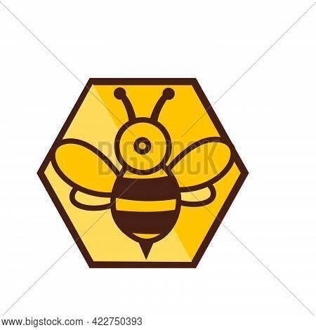 Modern Digital Hexagon Bee Logo And Vector Icon