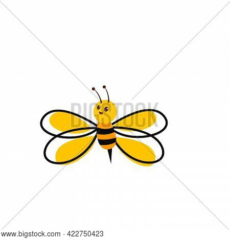 Funny Bee Style Logo And Vector Icon