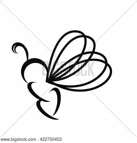 Butterfly Or Bee Line Art Logo And Vector Icon