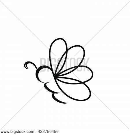 Butterfly Or Bee Line Art Style Logo And Vector Icon