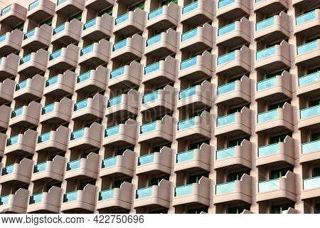 Balcony Pattern. Residential Building With Identical Glass Balconies