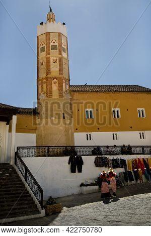 Chefchaouen, Morocco. 24 September 2017. View Of The Minaret Of Grand Mosque (el-masjid El-aadam) In