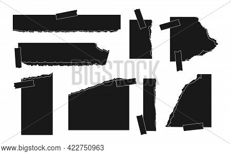 Set Of Ripped Black Silhouette Paper Different Shapes. Templates Of Torn Empty Page With Sticky Tape