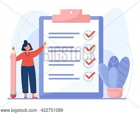 Completed Checklist Of Cartoon Woman Flat Vector Illustration. Businesswoman Holding Pencil, Standin