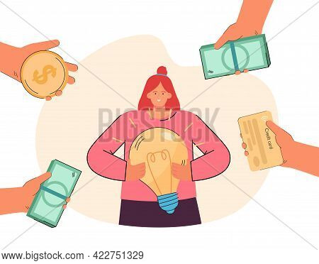 Woman Surrounding By Hands With Money Holding Light Bulb. Girl Having Creative Idea How To Earn Cash