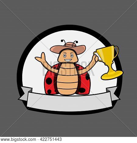 Vector Illustration Of Beetle Mascot Bring The Trophy Logo And Blank Name On Below Logo.