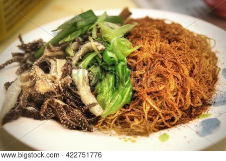 Cantonese Cuisine Dried Shrimp Roe Noodles Served With Scallion And Beef Tripe. This Is A Dish Made