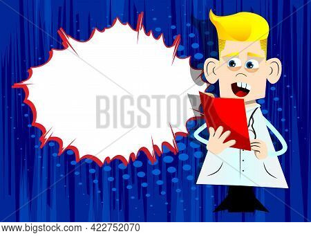 Funny Cartoon Doctor Reading A Red Book. Vector Illustration. Health Care Worker Holding A Magazine,