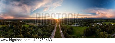 Aerial Panoramic View Of Trans-canada Highway 1 In Fraser Valley During Colorful Spring Sunset. Grea