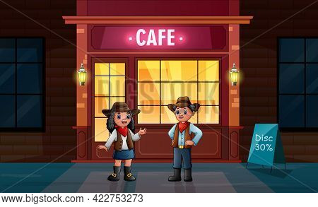 The African Cowboy And Cowgirl In Front The Cafe