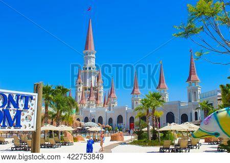 Belek, Antalya, Turkey - May 15, 2021: The Land Of Legends Theme Park In Belek. Pool At Waterfront K