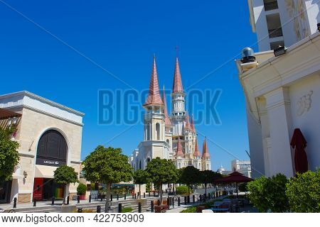 Belek, Antalya, Turkey - May 15, 2021: The Land Of Legends Theme Park In Belek. The Shopping Area