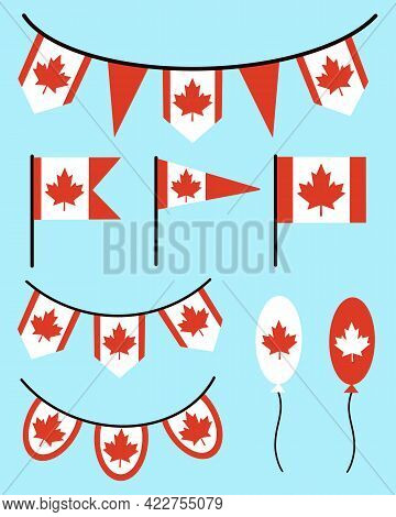 Collection Of Flags And Garlands With The Symbol Of Canada. Red Maple Leaf On A White Background. Tr