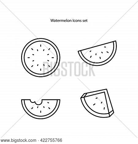Watermelon Icons Set Isolated On White Background. Watermelon Icon Thin Line Outline Linear Watermel