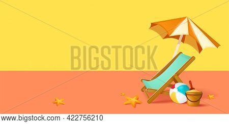 Summer sale beach holiday vacation. Beach chair, beach ball, sand bucket and spade on background.