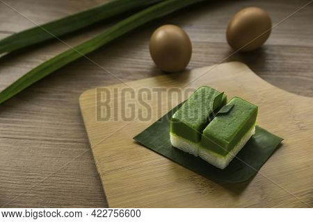 Selective Focus Of Kuih Seri Muka, Traditional Malaysian Two Layered Dessert With Steamed Glutinous