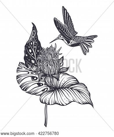 Vector Composition With Tropical Flowers, Hummingbird, Jungle Palm, Exotic Leaves.