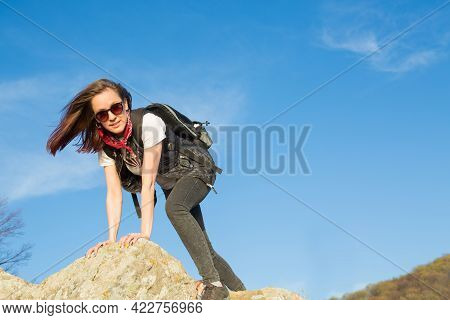 Beautiful Girls Travel In The Mountains Hiking In The Mountains