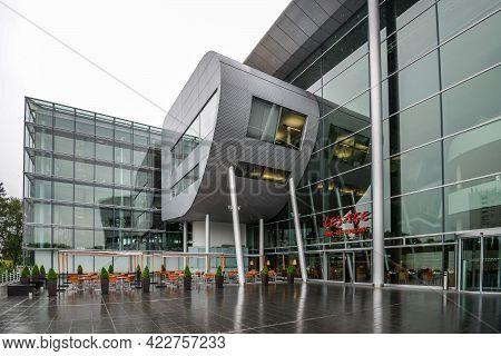 Germany Dresden - August 2015: Glaeserne Manufaktur. Glass Manufactory Volkswagen. Entrance To A New