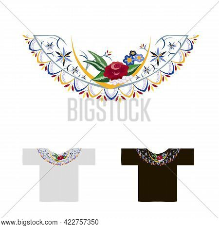 Decoration For Neck Embroidered Rose Vector Illustration