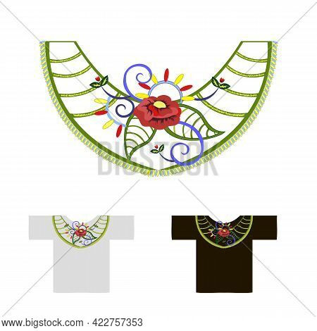 Decoration For Neck Embroidered With Red Poppy