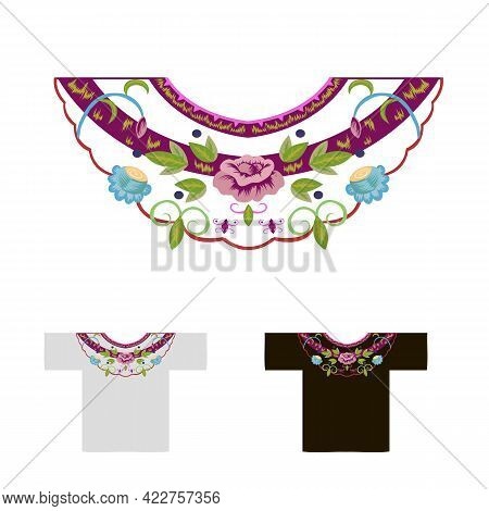Decoration For Neck Embroidered With Rosebuds Vector Illustration
