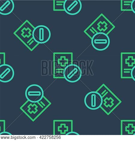 Line Medical Prescription Icon Isolated Seamless Pattern On Blue Background. Rx Form. Recipe Medical