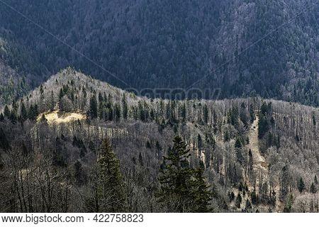 Big Fatra Mountains From Lysec Hill, Slovak Republic. Seasonal Natural Scene. Travel Destination. Hi