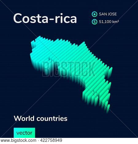 Stylized Neon Simple Digital Isometric Striped Vector Costa-rica Map, With 3d Effect. Map Of Costa-r