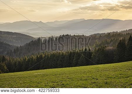 Turiec Basin From Big Fatra Mountains, Slovak Republic. Seasonal Natural Scene. Travel Destination.