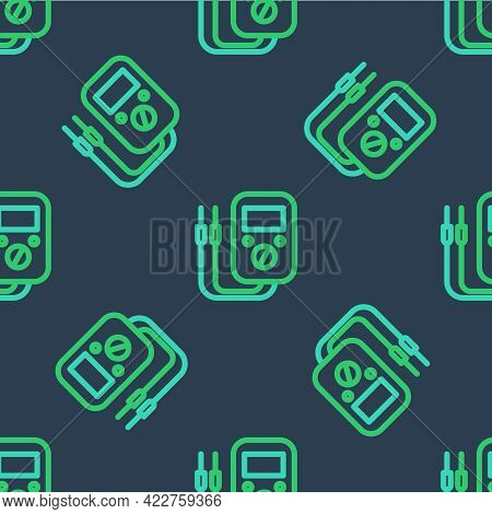 Line Ampere Meter, Multimeter, Voltmeter Icon Isolated Seamless Pattern On Blue Background. Instrume