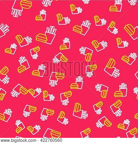 Line Burger And French Fries In Carton Package Box Icon Isolated Seamless Pattern On Red Background.