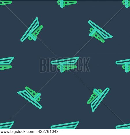 Line Hang Glider Icon Isolated Seamless Pattern On Blue Background. Extreme Sport. Vector