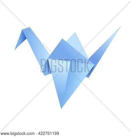 Paper Origami Shape - Bird, Crane. The Japanese Art Of Folding Paper Figures Is A Hobby, Needlework