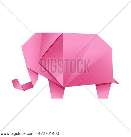 Paper Origami Shape - Elephant, Pink. The Japanese Art Of Folding Paper Figures Is A Hobby, Needlewo