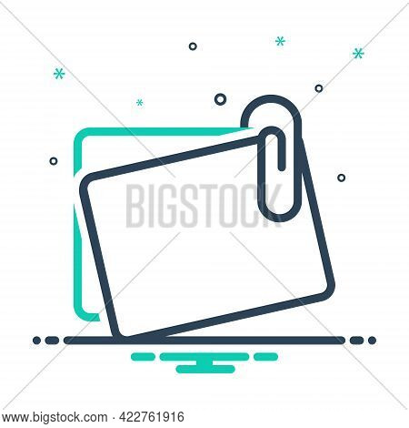 Mix Icon For Office-paperclip-with-notes Stationary Attach Pin Tack Paper Accessory Object Notes Pap