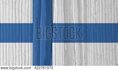 The Flag Of Finland On Dry Wooden Surface, Cracked With Age. It Seems To Flutter In The Wind. Backgr