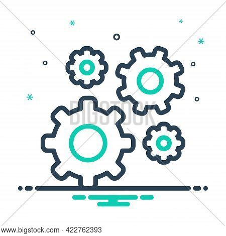Mix Icon For Gears Apparatus Machinery Instrument Cogwheel Motion Accessory Progress