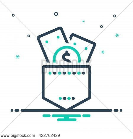 Mix Icon For Money Capital Wage Wealth Riches Piles Stance Posture Pocket Seal Save Budget Expanse
