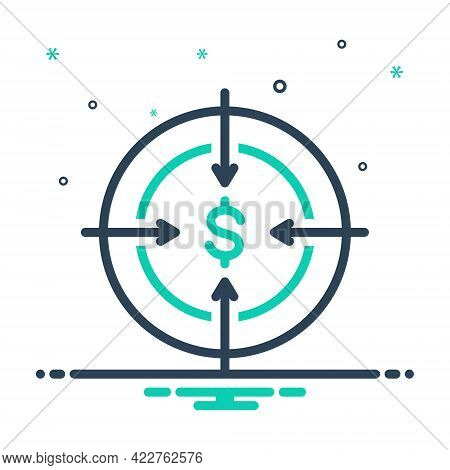Mix Icon For Target Ambition Intention Bullseye Dartboard Challenge Goal Aspirations Accuracy