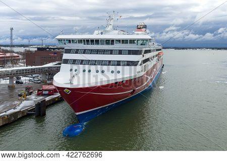 Helsinki, Finland - March 10, 2019: Modern Cruise Ferry Viking Xprs At Katajanokka Ferry Terminal On