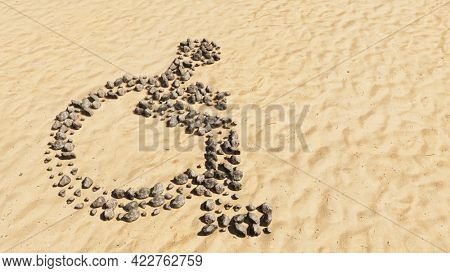 Concept conceptual stones on beach sand handmade symbol shape, golden sandy background, wheel chair sign. 3d illustration metaphor for rehabilitation, assistance, accessibility, mobility, safety