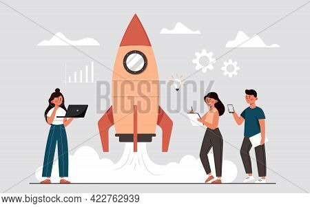 The Process Of Launching A Business Project In The Form Of A Rocket, An Idea Through Planning And St