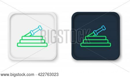 Line Garden Hose Or Fire Hose Icon Isolated On White Background. Spray Gun Icon. Watering Equipment.