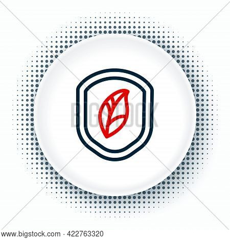 Line Shield With Leaf Icon Isolated On White Background. Eco-friendly Security Shield With Leaf. Col
