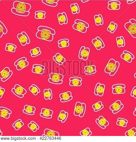 Line Telephone Icon Isolated Seamless Pattern On Red Background. Landline Phone. Vector