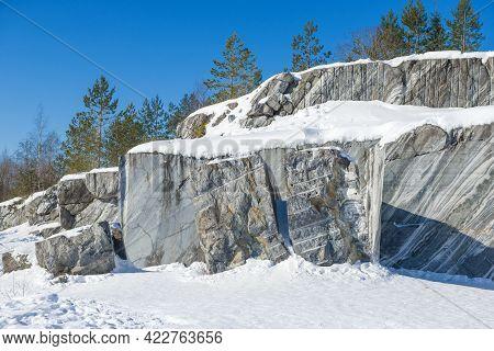 Broken Marble Rocks In An Old Marble Quarry. Ruskeala Mountain Park, Karelia