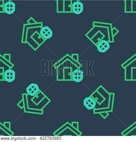 Line House Under Protection Icon Isolated Seamless Pattern On Blue Background. Home And Shield. Prot